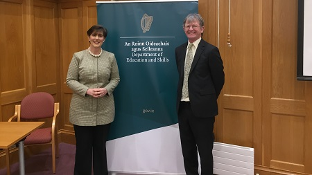 JMB General Secretary, Mr John Curtis, with the new Minister for Education, Ms Norma Foley T.D.